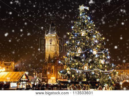 Czech Republic, Prague, January 4, 2016: Marketplace during the Christmas celebrations in Prague, Czech Republic