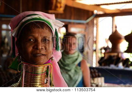 Long neck woman Inle lake Myanmar