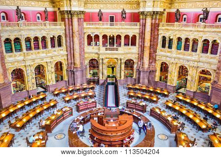 WASHINGTON, D.C. - APRIL 12, 2015: The Library of Congress in Washington. The library officially serves the U.S. Congress.