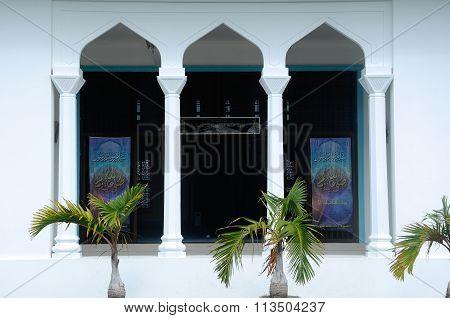 Architectural detail at Mersing Town Jamek Mosque at Mersing, Malaysia