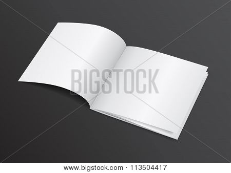 Open White Blank Brochure Magazine For Mock Up - Vector Illustration