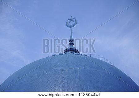 Dome of Mersing Town Jamek Mosque at Mersing, Malaysia