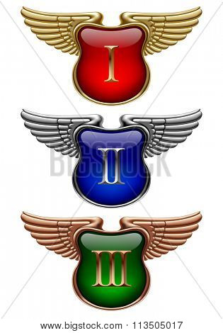 Gold, silver and bronze award signs with wings. Vector illustration