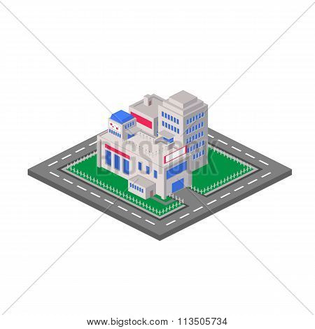 Flat 3D isometric shopping mall concept vector. Sale, entertainm