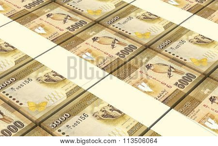 Sri Lankan bills stacks background. Computer generated 3D photo rendering.
