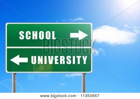 Roadsign School University Sky Background.