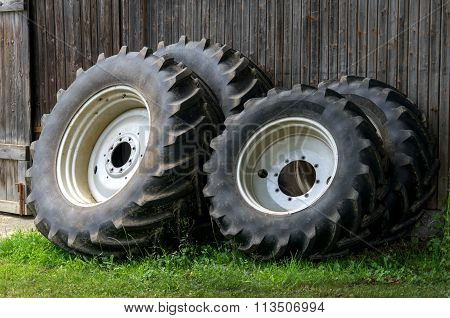 Wheels of a tractor