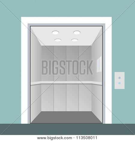 Elevator With Opened Door In Vector