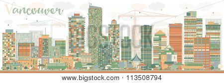 Abstract Vancouver skyline with color landmarks. Vector illustration. Business travel and tourism concept with historic buildings. Image for presentation, banner, placard and web site.