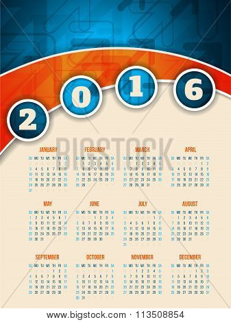 Colorful 2016 Calendar Template With Arrow Background