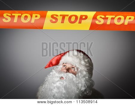 Santa Claus And Stop Line