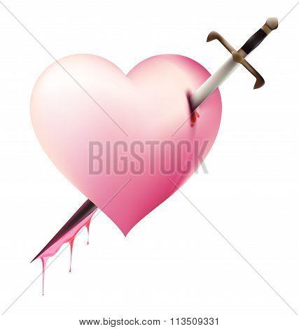 Sword Piece Of Heart Heartbroken Concept