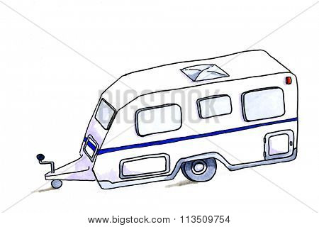 Hand drawn illustration of caravan isolated over white background