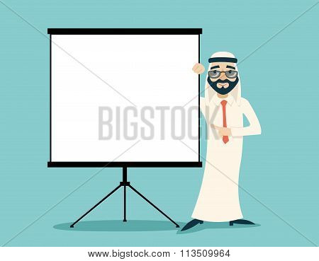 Vintage Successful Arab Businessman Traditional National Muslim Clothes Character White Board Presen
