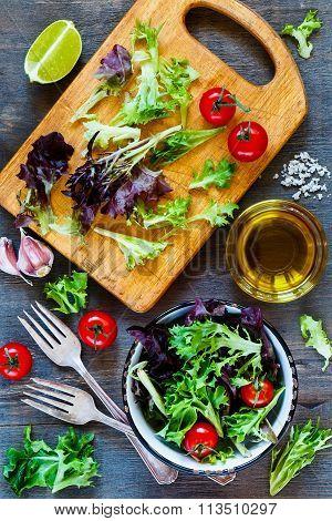 Healthy Salad On Cutting Board