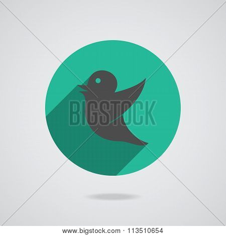 Network icon bird in black silhouette isolated on the teal background illustration