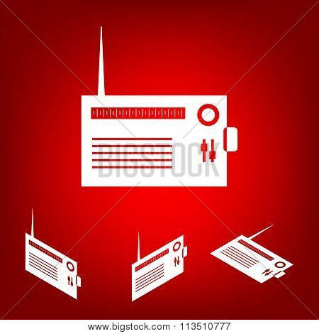 Radio silhouette. vector icon  set. Isometric effect