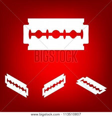 Vector razor blade icon  set. Isometric effect