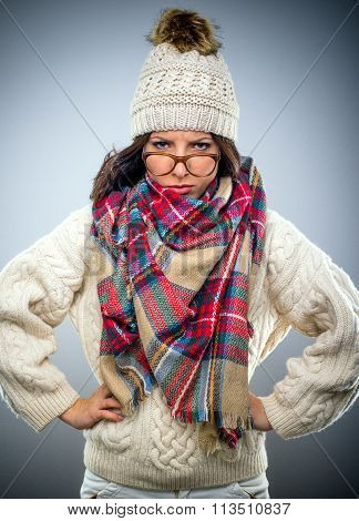 Grumpy Young Woman In Winter Fashion