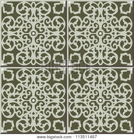 Vintage seamless wall tiles of green lace spiral, Moroccan, Portuguese.