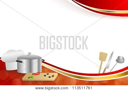 Background abstract red cooking white hat saucepan soup ladle knife paddle kitchen pepper olives