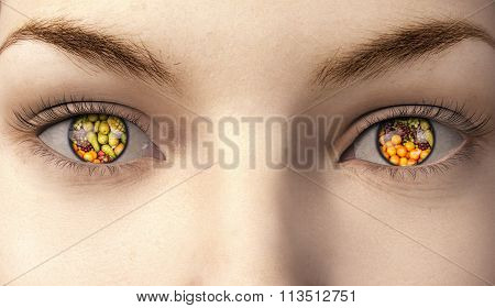 Woman With Fruit In Here Eyes