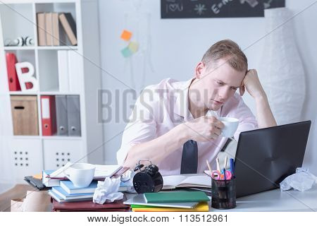 Overstudying Man Drinking Coffee