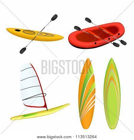 Sport boat red rafting yellow kayak orange green surfboard windsurfing isolated illustration vector