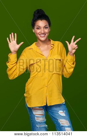 Woman showing eight fingers