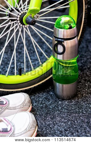 Bike Weel, Bottle And Sport Shoes