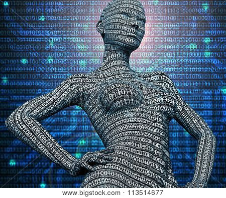 Electronic Woman Or Female Cyborg Isolated On Binary Background
