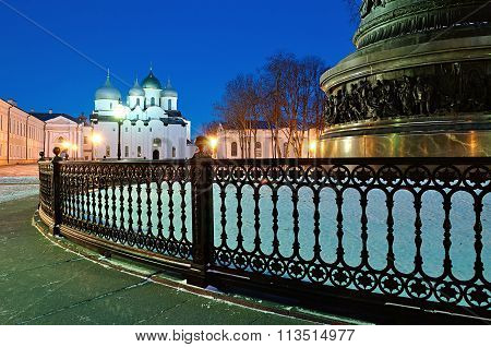 St.sophia Cathedral And The Monument Millennium Of Russia In Veliky Novgorod, Russia