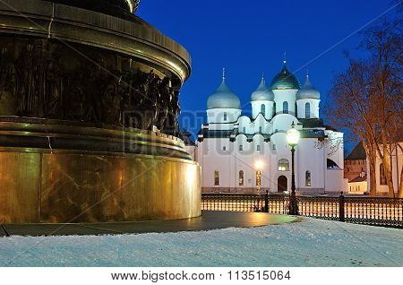 Saint Sophia Cathedral And The Monument Millennium Of Russia In Veliky Novgorod, Russia