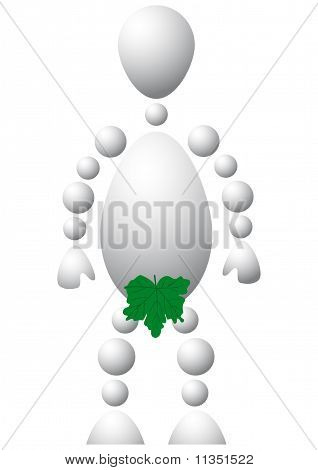 Man As Naked Adam With Green Fig-leaf