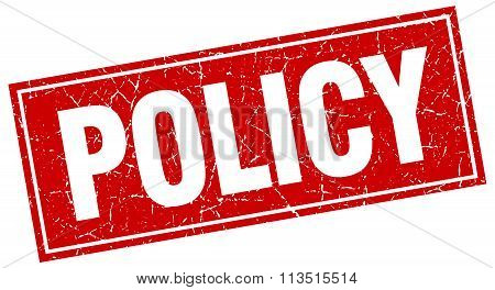 Policy Red Square Grunge Stamp On White