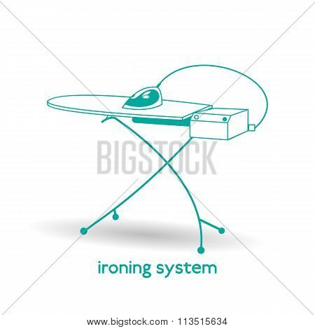 Steam electric ironing system with iron and ironing board. Isolated on white background. Illustratio