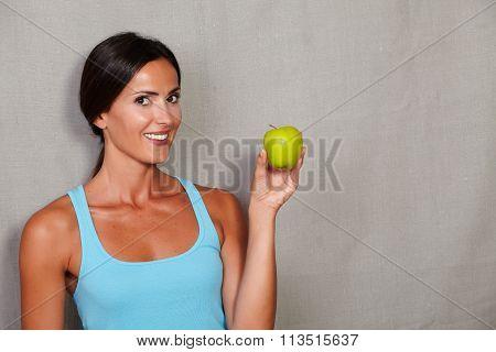 Long Hair Brunette Lady Showing Apple