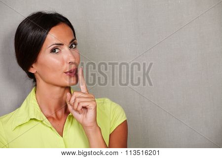Confident Beautiful Woman Sending Silent At Camera