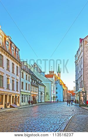 RIGA LATVIA - DECEMBER 25 2011: Street view in the Old city of Riga in Latvia at Christmas time