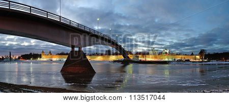 Panorama Of Novgorod Kremlin And Saint Sophia Cathedral In Veliky Novgorod, Russia - Night Wide Angl