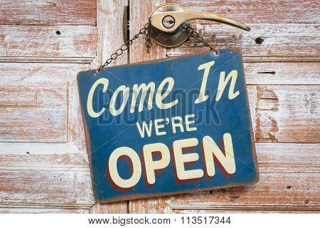 Come In We're Open On The Wooden Door, Copyspace On The Right