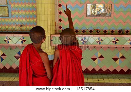 Two Child Monks In Temple Of Top Of Sagaing Hill Mandalay Myanmar (burma)