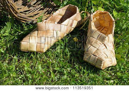 two woven birch bark handmade sneaker