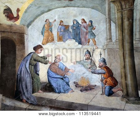 STITAR, CROATIA - AUGUST 27: Peter denies Jesus before the rooster crows three times, fresco in the church of Saint Matthew in Stitar, Croatia on August 27, 2015