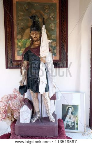 STITAR, CROATIA - AUGUST 27: St. Florian patron of firefighters in the chapel in the village Stitar, Croatia on August 27, 2015