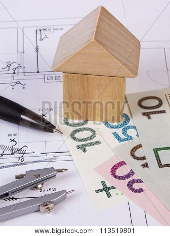 House Of Wooden Blocks, Polish Money And Accessories For Drawing, Building House Concept