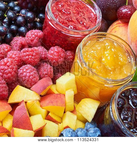 Mix Of Jams And Fruits