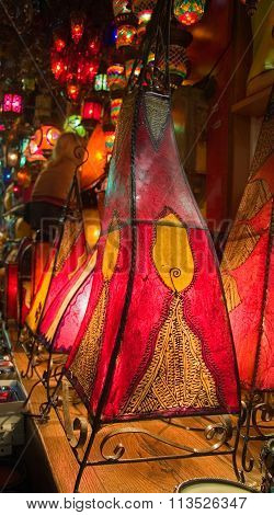 Traditional Oriental Skin Lamps In Istanbul  Grand Bazar
