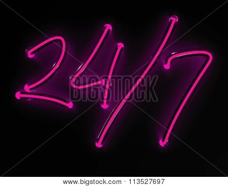 3d render 24/7 pink neon sign isolated on black background.