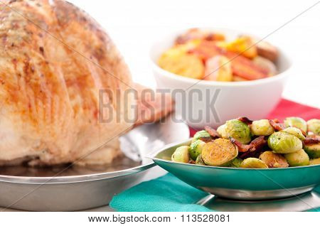Roast Turkey With Sides Of Vegetables